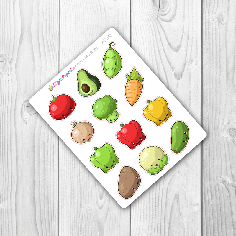 Kawaii Vegetable Stickers | AD048