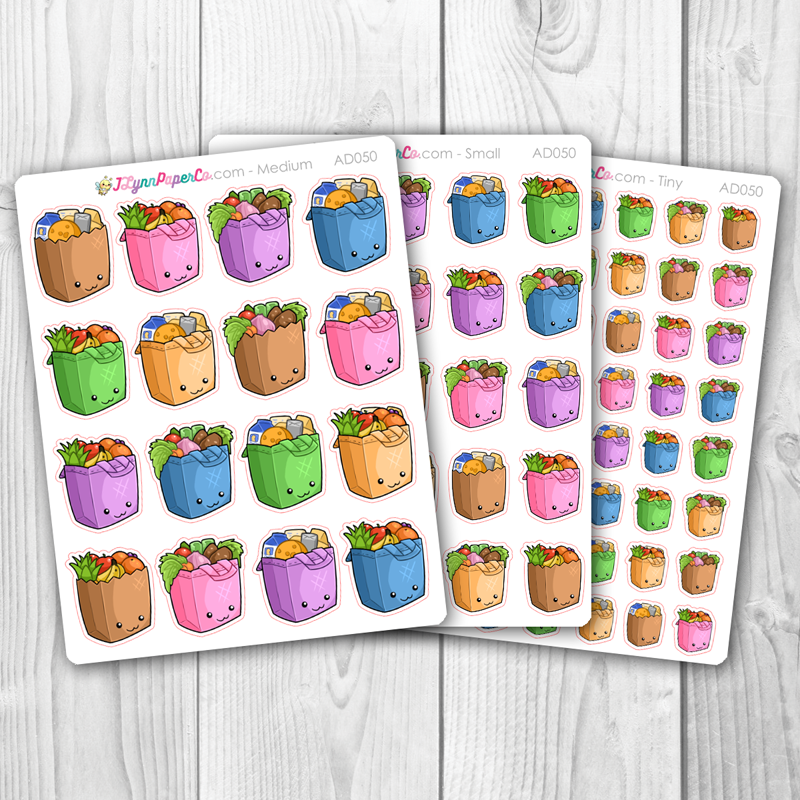 Kawaii Grocery Bag Stickers | AD050