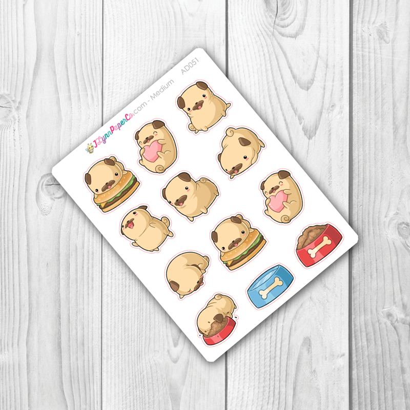 Kawaii Pug Stickers | AD051