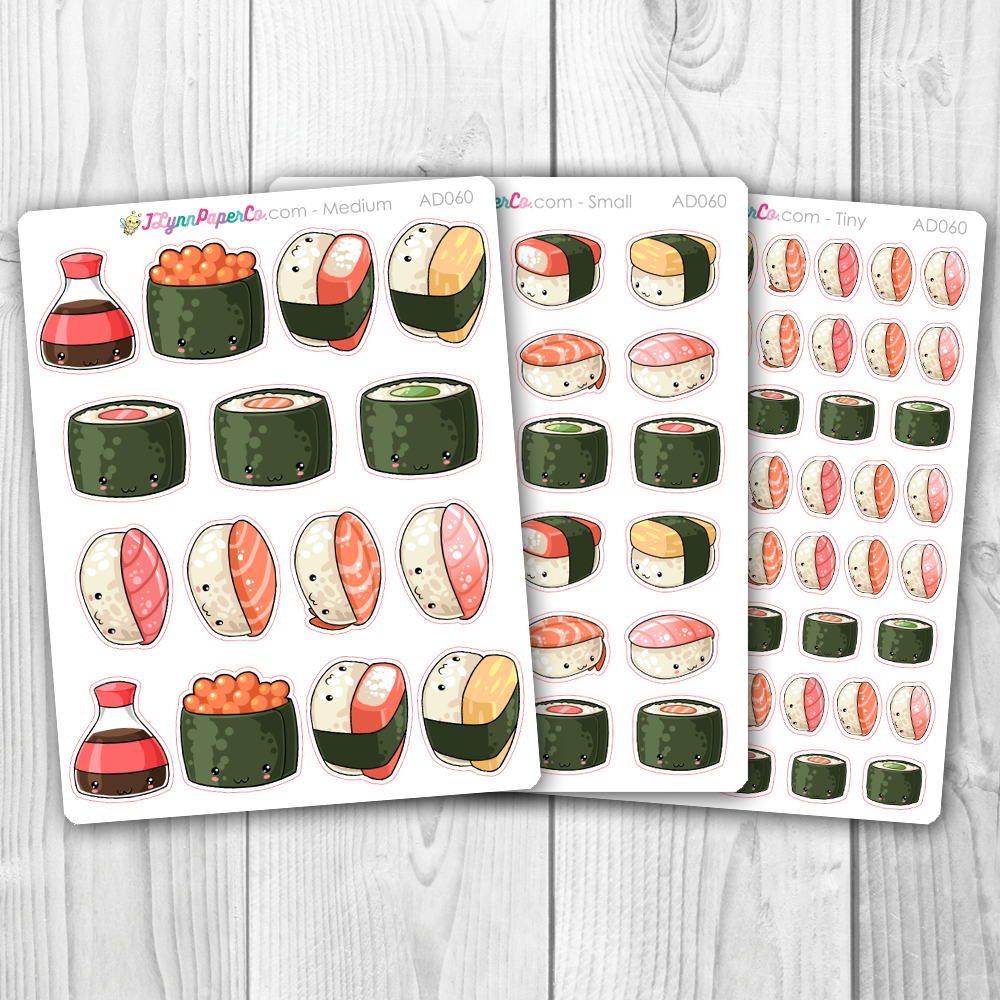 Kawaii Sushi Deco Stickers | AD060