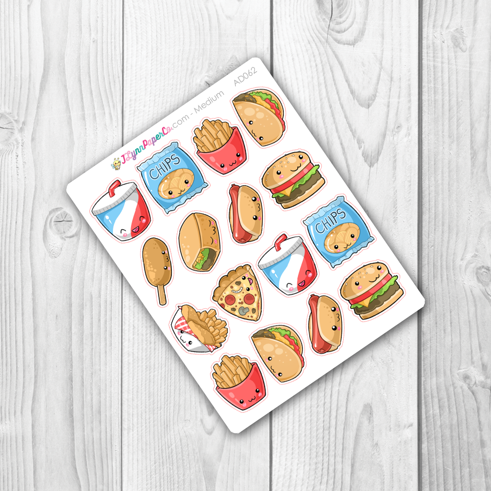Kawaii Junk Food Deco Stickers | AD062