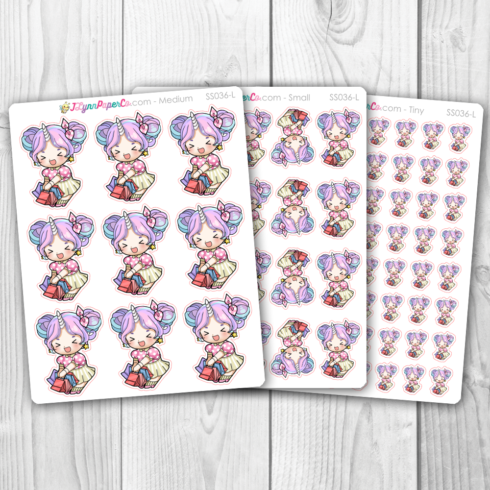 Starshine with Shopping Bags Character Stickers | SS036