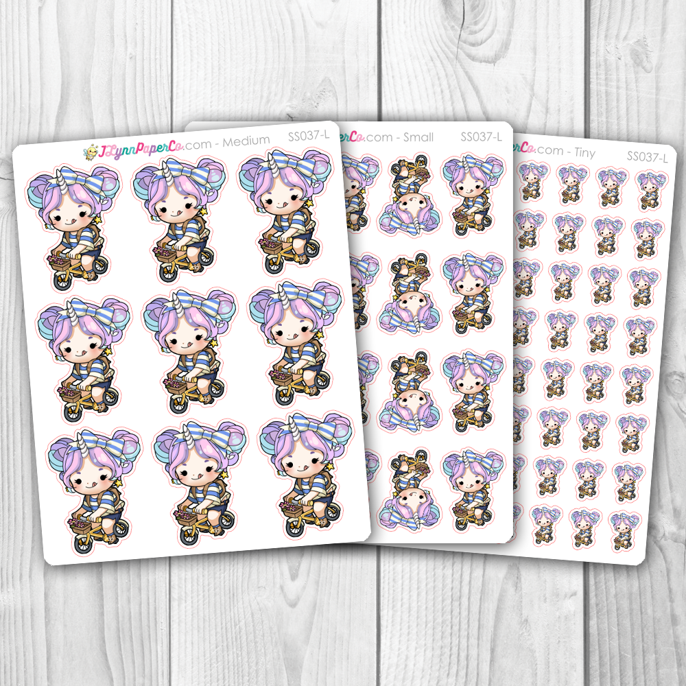 Starshine Riding a Bike Character Stickers | SS037