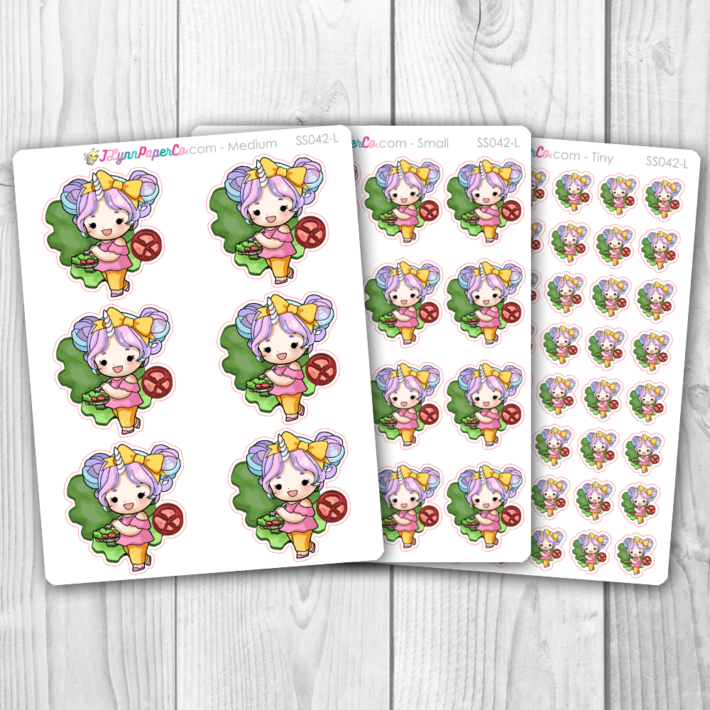 Starshine Eating Salad Character Stickers | SS042