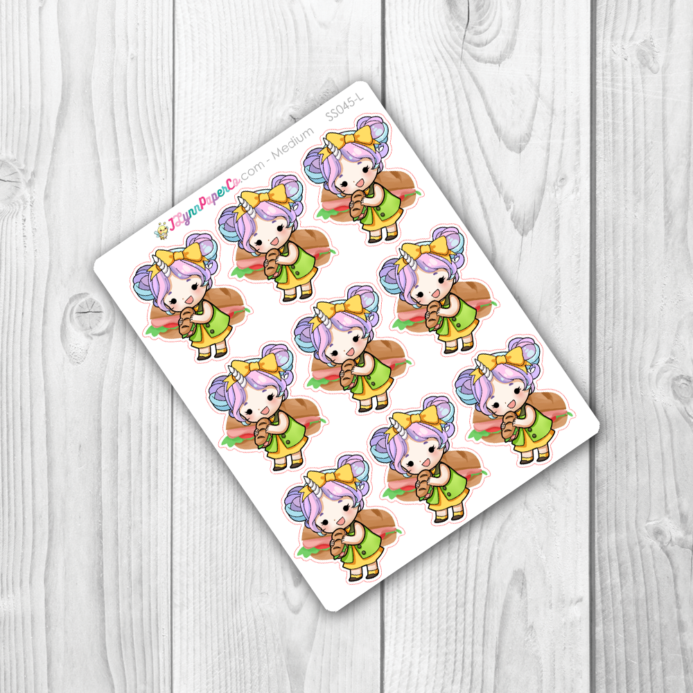 Starshine Eating Sandwiches Character Stickers | SS045