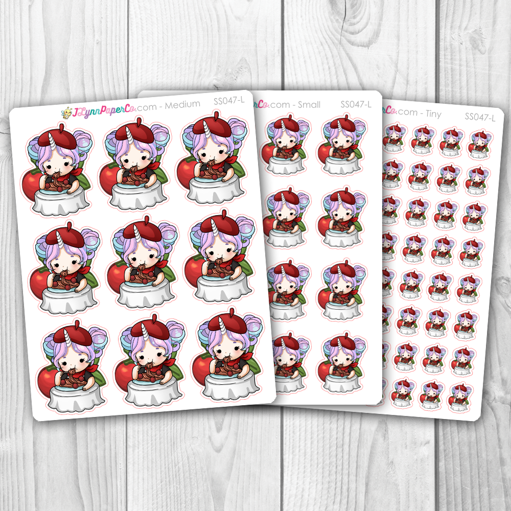 Starshine Eating Spaghetti Character Stickers | SS047