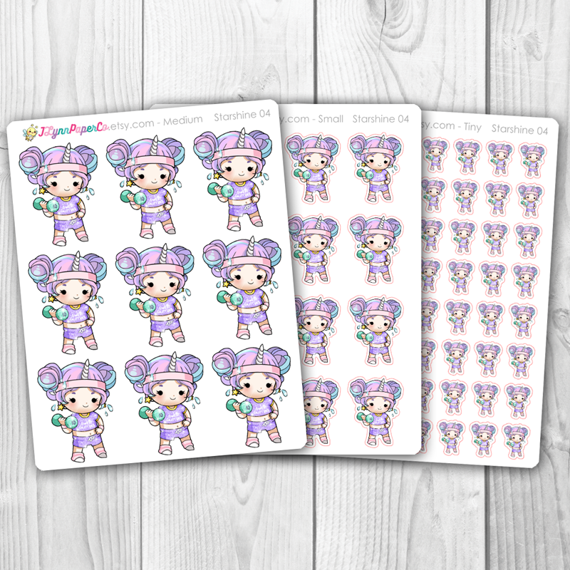 Starshine Working Out Character Stickers | SS004