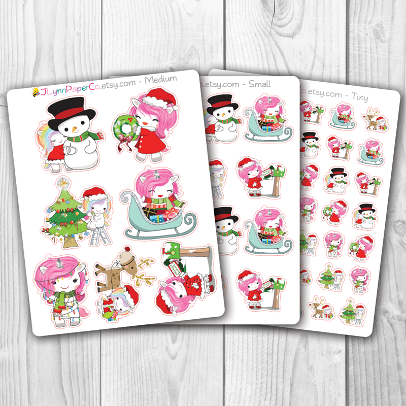 Christmas Unicorn Character Stickers