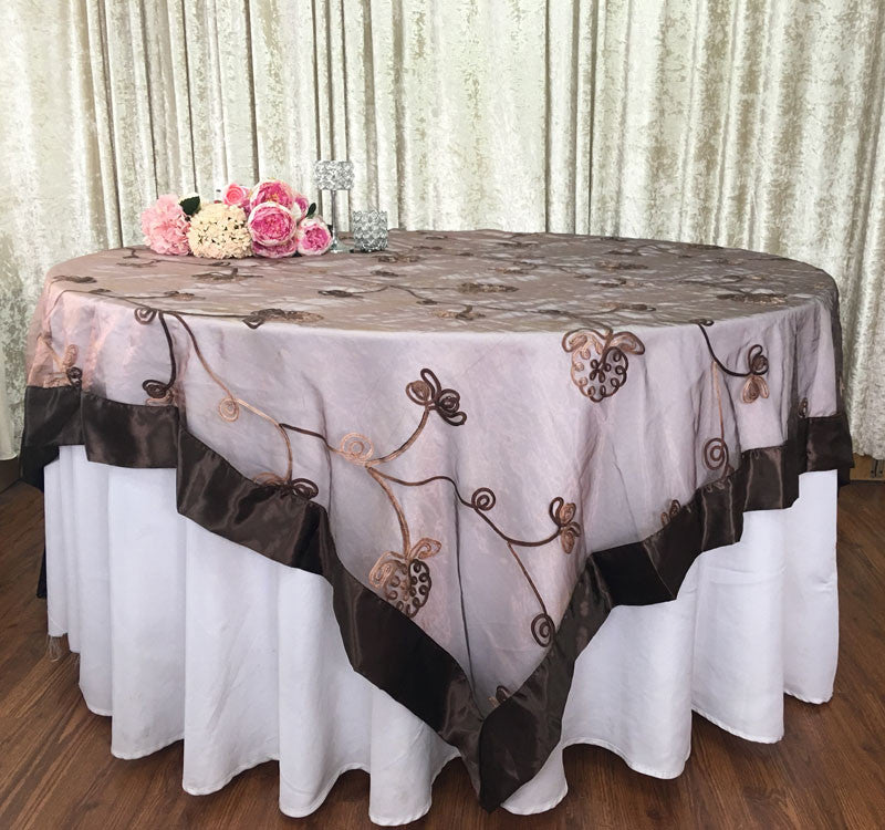 Wedding Event Home Decoration Organza Embroidery Table Overlay W