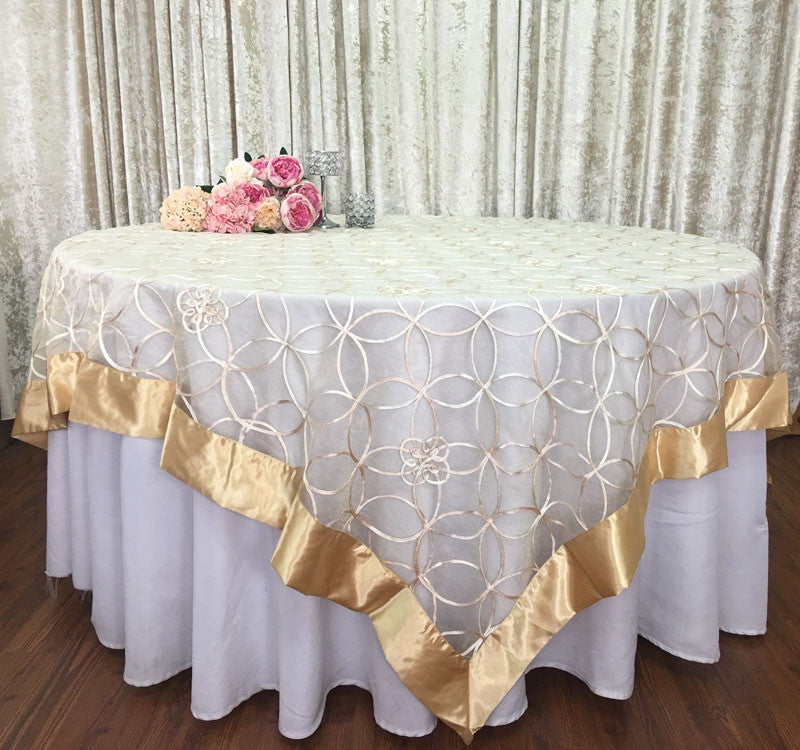 Silver Wedding Event Home Decoration Organza Embroidery