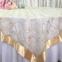 ... Ivory/Gold Wedding Event Home Decoration Organza Embroidery Table  Overlay W/ Satin Trims
