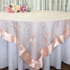Wedding Event Home Decoration Organza embroidery table overlay w/ Satin Trims Peach