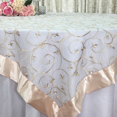 Champagne Wedding Event Home Decoration Organza embroidery table overlay w/ Satin Trims