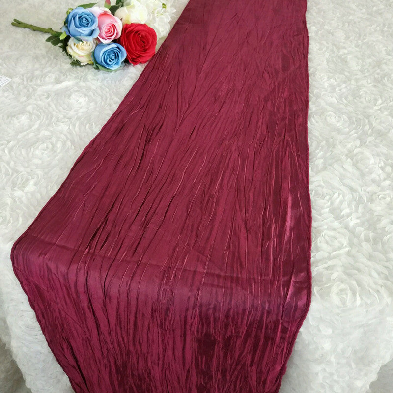 7 Colors 5PCS/LOT Crinkle Taffeta Table Runner For Wedding Banquet