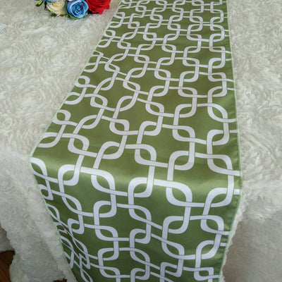 5 PCS/LOT Link Matte Satin Printed Table Runner for Wedding, Banquet Sage and White