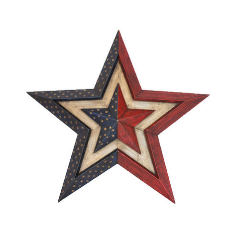Patriotic 3-D Wooden Star