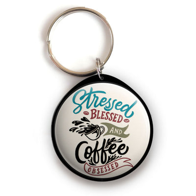 Stressed, Blessed, Coffee Obsessed Keychain -  - Beyond The Scrubs