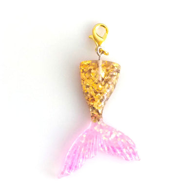 Gold & Pink Mermaid Tail Charm Badge Reel Add-on -  - Beyond The Scrubs