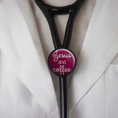 Jesus and Coffee Stethoscope Tag -  - Beyond The Scrubs