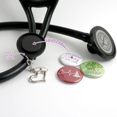 Nurse Powered by Coffee Stethoscope ID Tag -  - Beyond The Scrubs