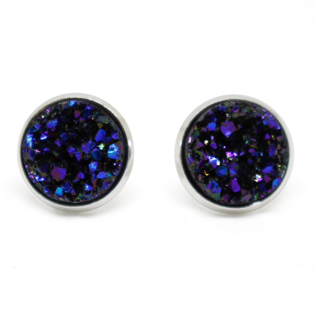 Midnight Druzy Earrings - 12mm