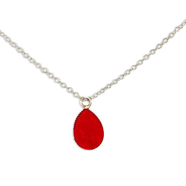 Red Druzy Teardrop Necklace