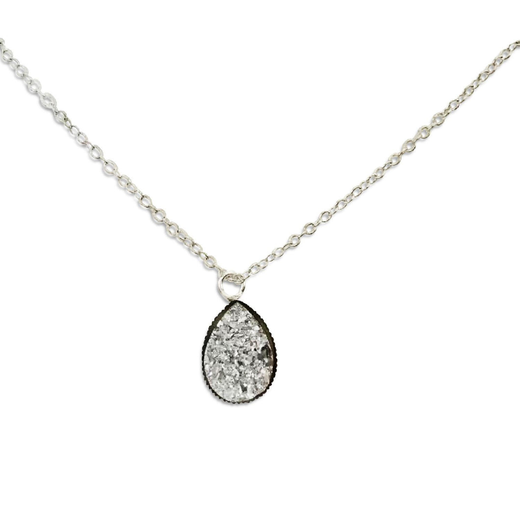 Silver Druzy Teardrop Necklace