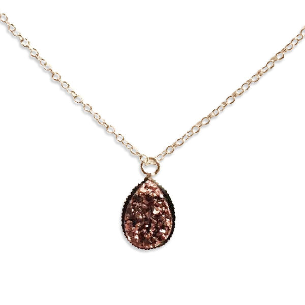 Rose Gold Druzy Teardrop Necklace