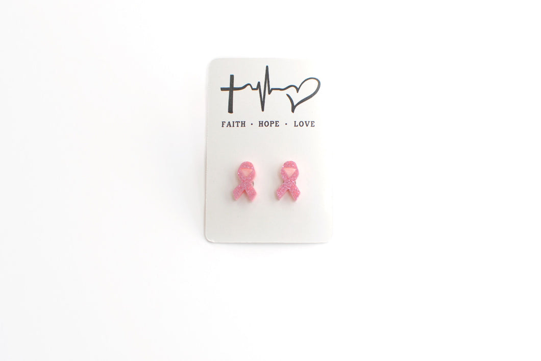 Pink Glitter Ribbon Acrylic Studs - Faith Hope Love