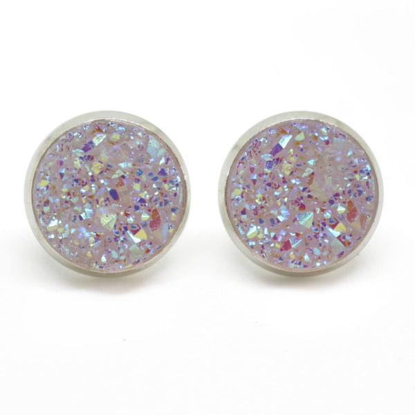Titanium Lavender Druzy Earrings - 12mm