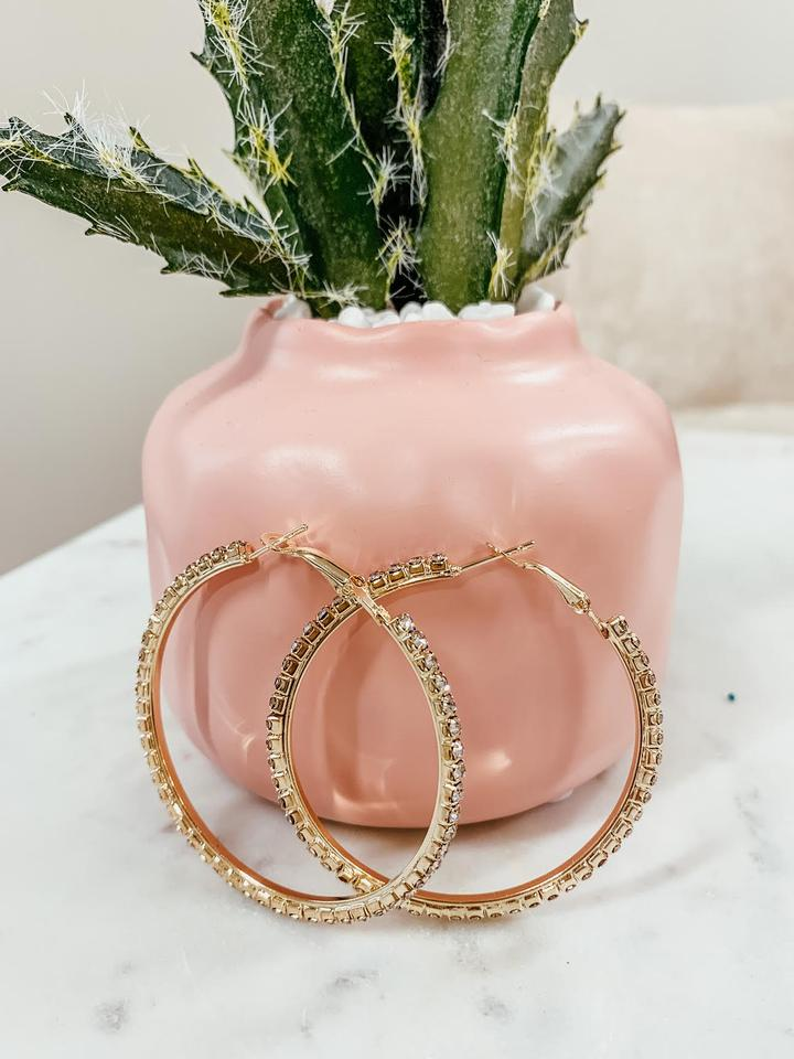 gold rhinestone hoops [gold] - Grace and Edge Boutique