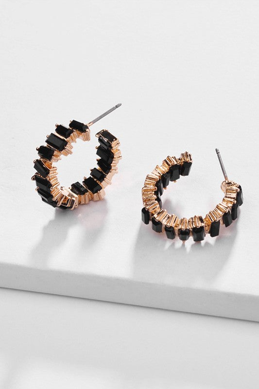 glass crystal hoops [black] - Grace and Edge Boutique