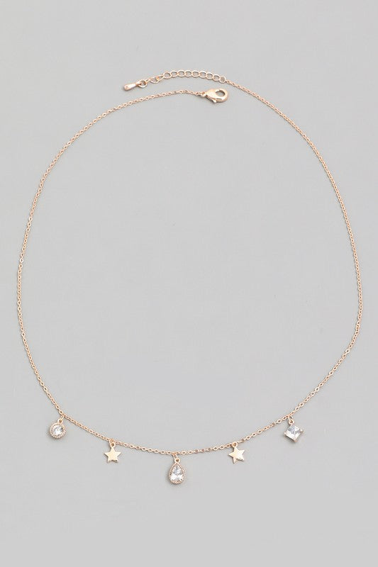teardrop rhinestone star necklace [gold] - Grace and Edge Boutique