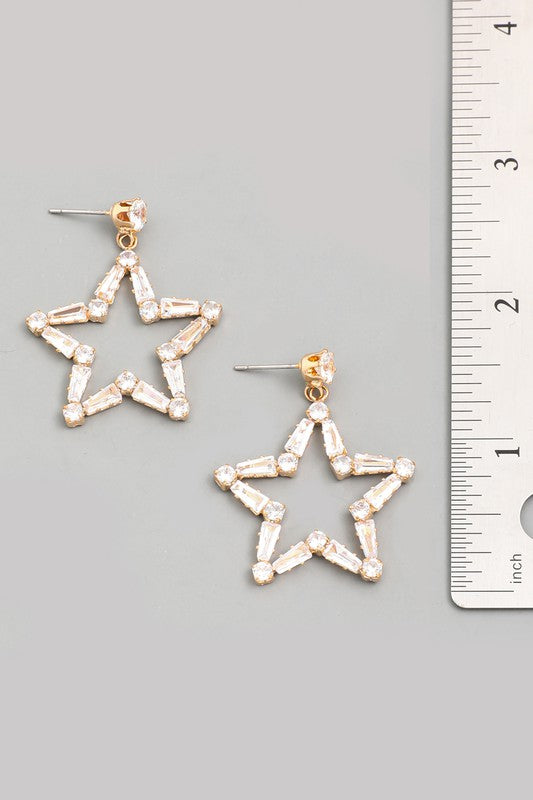 rhinestone star baguette drop earrings - Grace and Edge Boutique