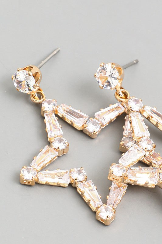 rhinestone star baguette drop earrings