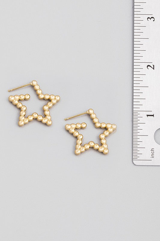 beaded star hoop earrings [gold] - Grace and Edge Boutique