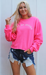 RESTOCK! | out of office crop sweatshirt [hot pink]