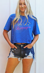 save water, drink champagne crop [blue] - Grace and Edge Boutique