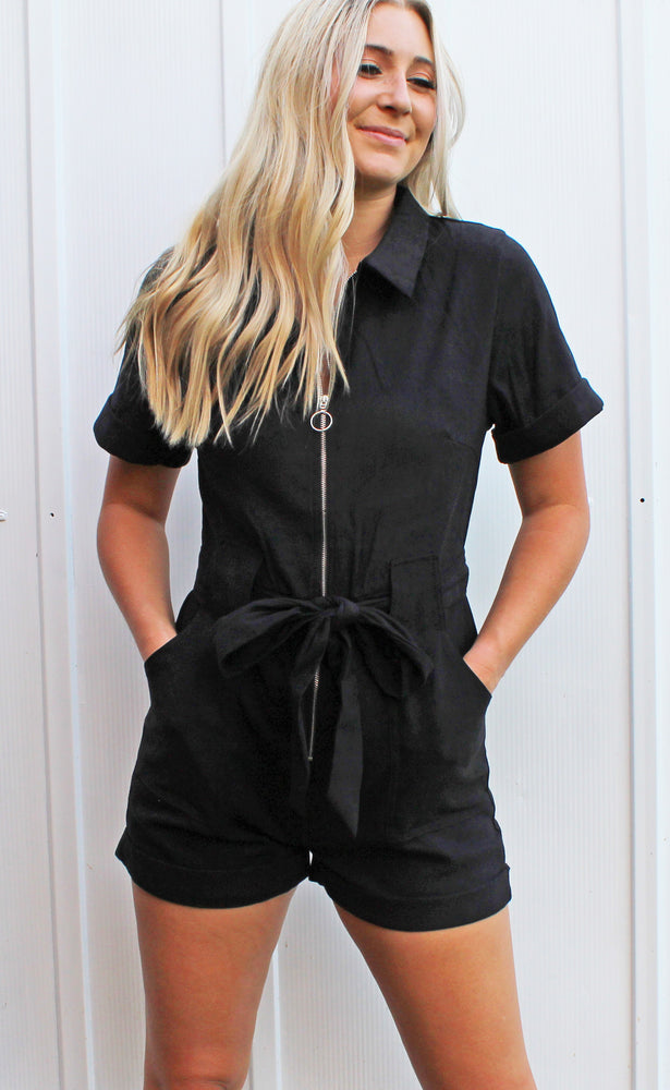 straight forward romper - black