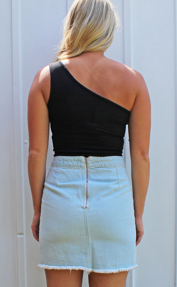 tropical twist mini skirt [light denim] - Grace and Edge Boutique