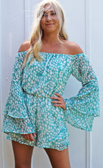 bayside babe off the shoulder romper [teal]