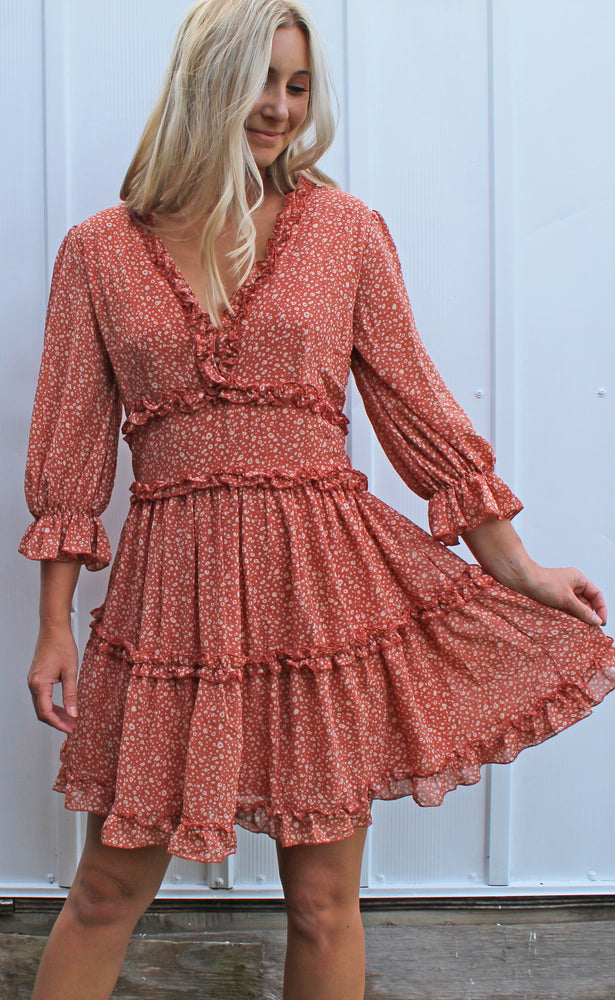 footprints in the sand dress [dusty coral] - Grace and Edge Boutique