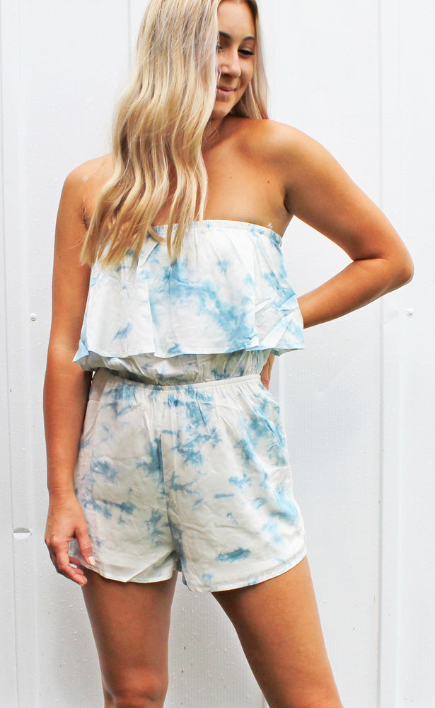 tan lines in the tropic romper [blue]