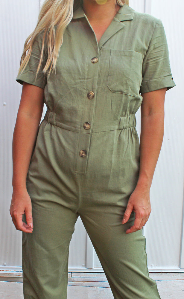 ready for anything coverall jumpsuit [olive] - Grace and Edge Boutique