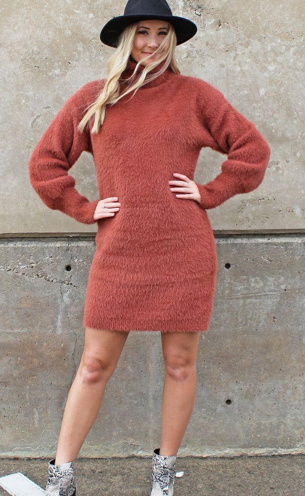 so cozy sweater dress [clay] - Grace and Edge Boutique