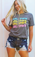 girl power graphic tee [charcoal] - Grace and Edge Boutique