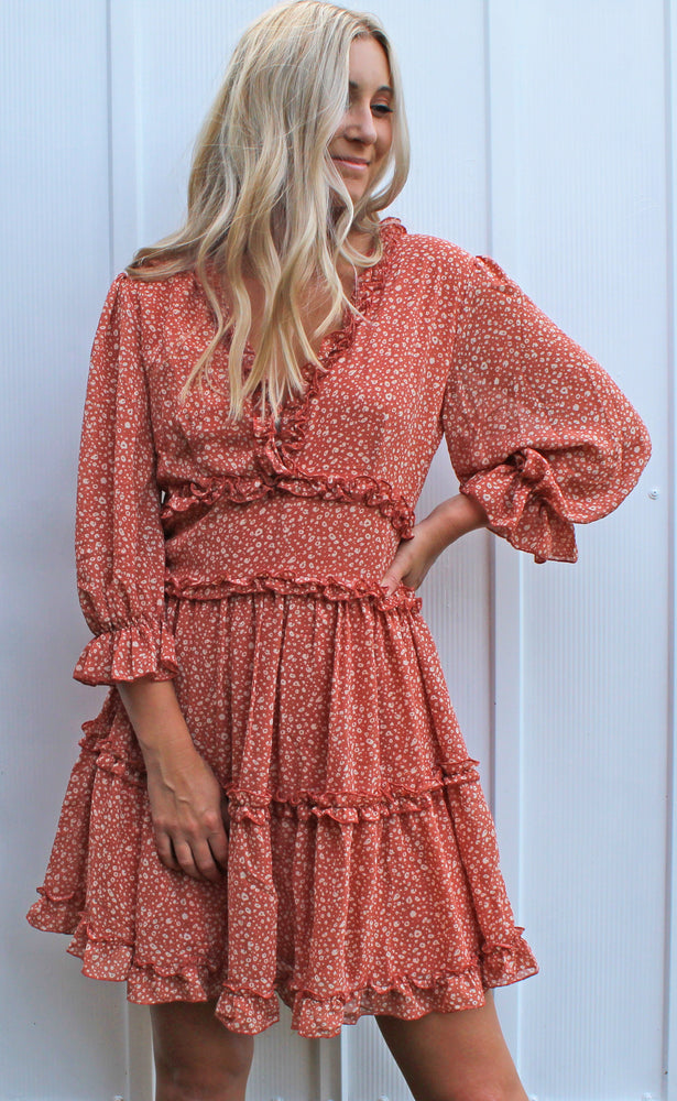 footprints in the sand dress [dusty coral]