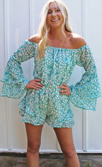 bayside babe off the shoulder romper [teal] - Grace and Edge Boutique