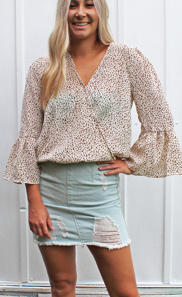 escape with me leopard top [ivory] - Grace and Edge Boutique