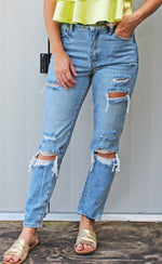 relax the day away distressed mom jeans [light denim]